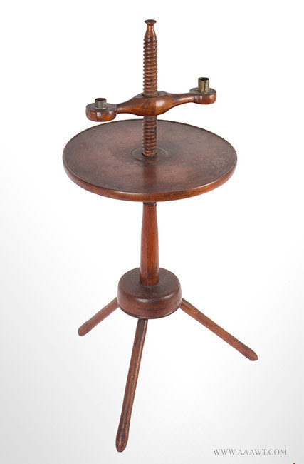 Antique Adjustable Candle Stand with Circular Dished Tabletop in Old Surface, 18th Century, angle view