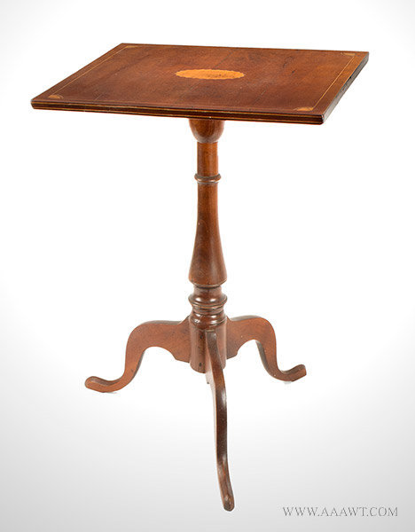 Antique Cherry Square Top Candlestand with Patera Inlay, 18th Century, angle view