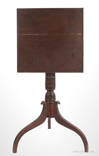 Antique Tiptop Cherrywood Candlestand in Original Surface, New England, top up view
