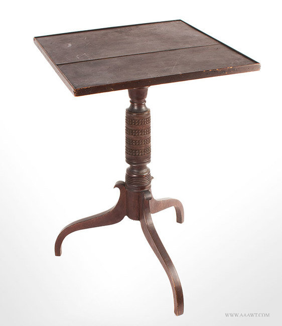 Antique Tiptop Cherrywood Candlestand in Original Surface, New England, angle view