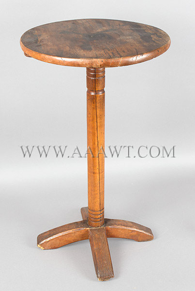 William and Mary Table, Candlestand, Chamfered Cruciform Base, Circular Top  New England, Circa 1725, angle view