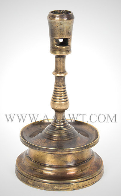 Gothic Candlestick, Brass, Waisted Circular Base, Long Flaring Socket  Early 16th Century, entire view