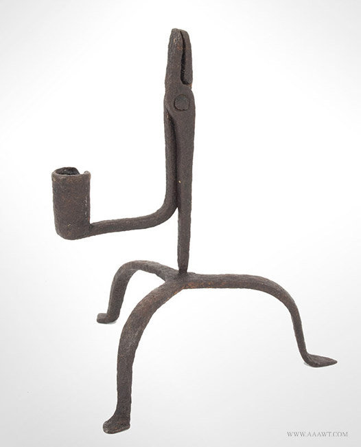 Antique Iron Rush Light with Candlesocket Counterweight, Tripod Base, 18th Century, angle view 1
