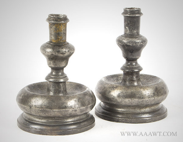 Candlesticks, Pewter, Short Stem Rising From Bulbous Base, Acorn Knop  Iberian (Spain/Portugal peninsula), 17th Century, entire view
