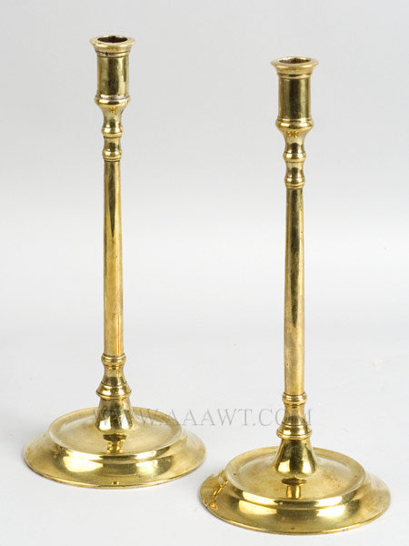 Candlesticks, Pair, Brass, Tall and Elegant  England  First Half 18th Century, entire view