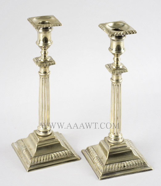 Pair of Paktong Candlesticks, Detachable Bobeche  England  18th Century, entire view