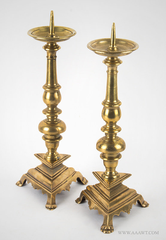 Antique Pair of Pricket Candlesticks on Footed Triangular Bases, 17th Century, pair view