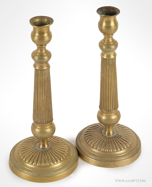 Antique Pair of French Brass Candlesticks, 19th Century, pair view