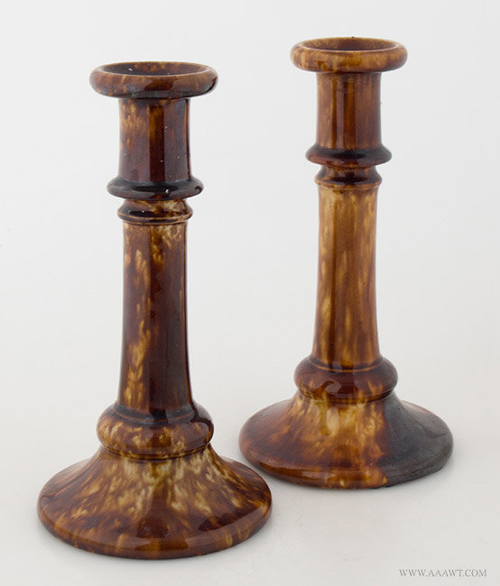 Antique Pair of Unmarked Flint Enamel Candlesticks, Likely Lyman Fenton and Co., Circa 1849, pair view