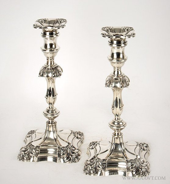 Pair, Edward VII Sterling Silver Shell Based Candlesticks in the Style of George II  Sheffield, London, Hawksworth, Eyre & Co. Ltd., circa 1906, entire view