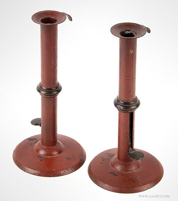 Antique Pair of Wedding Band Painted Hogscraper Candlesticks, 19th Century, angle view
