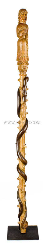 Antique Cane, Carved, Figure of Woman, 19th Century, entire view