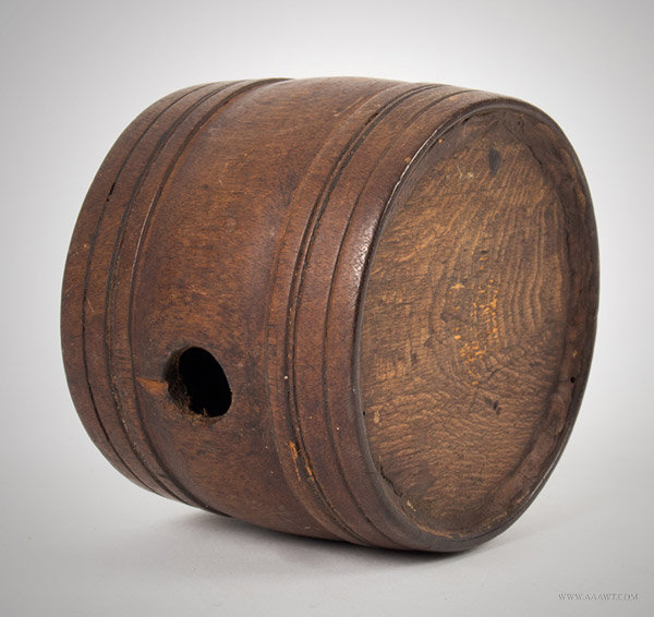 Antique Treen Rundlet/Canteen in Original Surface, New England, 18th or Early 19th Century, entire view