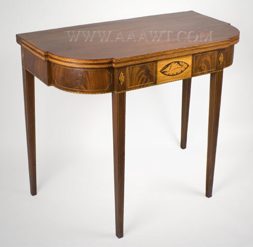 Card Table, Federal Period, Inlaid, Five Shells Possibly by William Lloyd (1779 to 1845) Springfield, Massachusetts Circa 1805, angle view