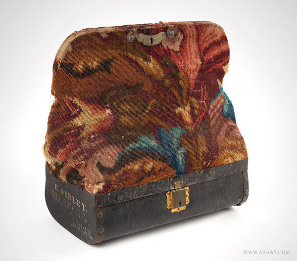 Antique Carpetbag with Painted Canvas Base, Massachusetts, Circa 1860 to 1870, angle view 1