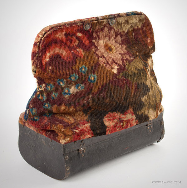 Antique Carpetbag with Painted Canvas Base, Massachusetts, Circa 1860 to 1870, angle view 2