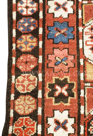 Antique Rug, Moghan, Azerbaijan, Circa 1900, border detail