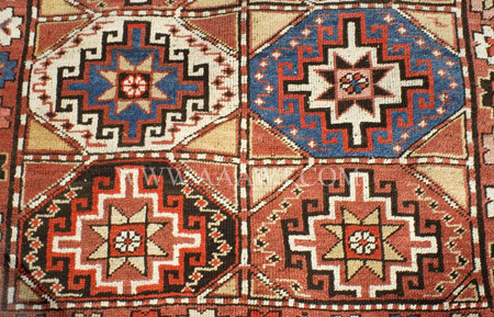 Antique Rug, Moghan, Azerbaijan, Circa 1900, close up detail