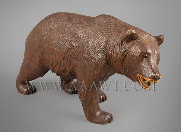 Antique Carved Bear, Black Forest, Circa 1900, angle view