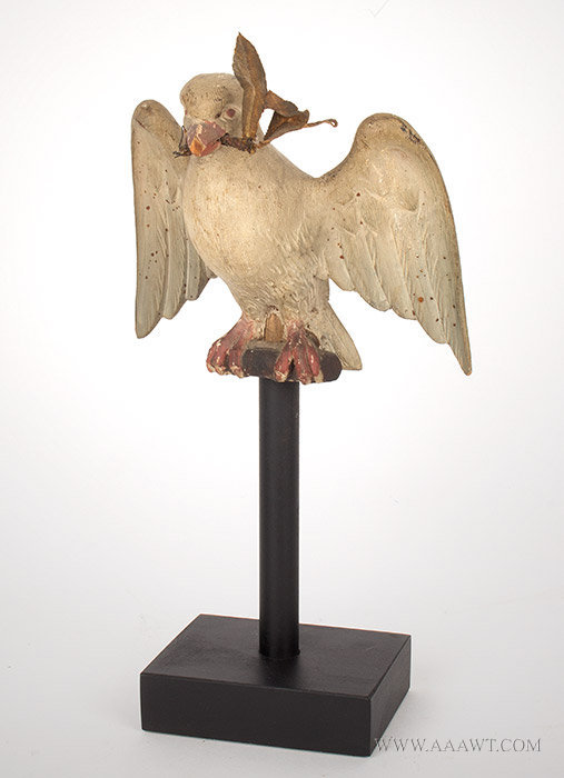 Antique Carved Folk Art Dove of Peace on Stand, 19th Century, entire view