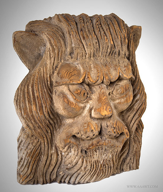 Antique Carved Cathead in form of a Lion's Head, Attributed to John Bellamy, Circa 1860, angle view