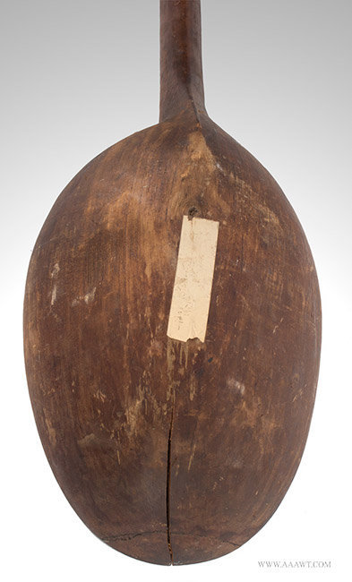 Antique Large Carved Wooden Spoon/Ladle, New England, 18th Century, close up detail