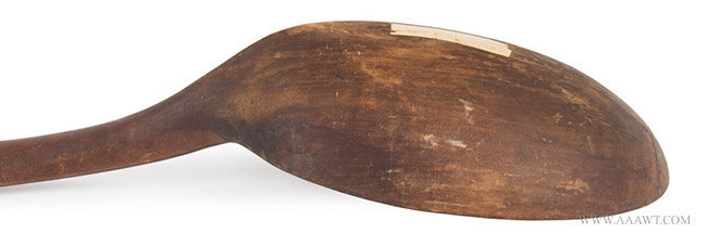 Antique Large Carved Wooden Spoon/Ladle, New England, 18th Century, close up angle