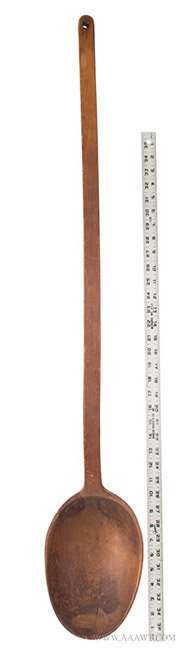 Antique Large Carved Wooden Spoon/Ladle, New England, 18th Century, with ruler for scale