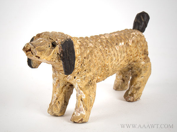 Antique Carved Dog, Folk Art, Original Paint, right angle view