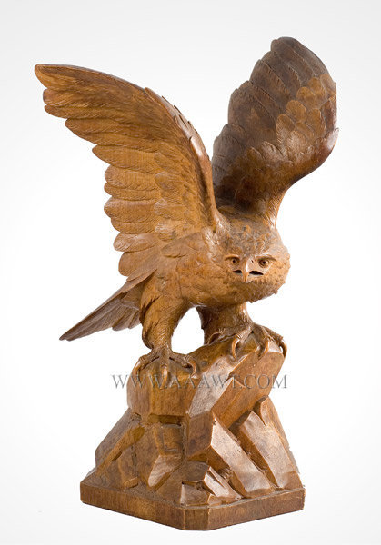 Antique Carving, Golden Eagle, Circa 1900, Swiss, angle view