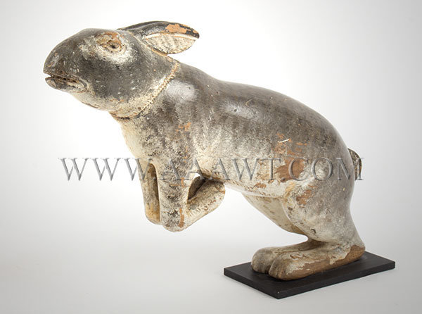 Antique Carved Rabbit, Folk Art, Painted, Unknown Maker, angle view