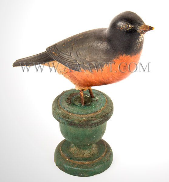 Antique Carved Robin on Stand, Folk Carving, Late 19th Century, facing right view