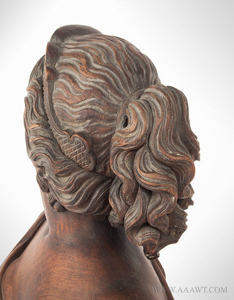 Antique Carved Wood Bust of Beautiful Young Lady, Late 19th Century, hair detail