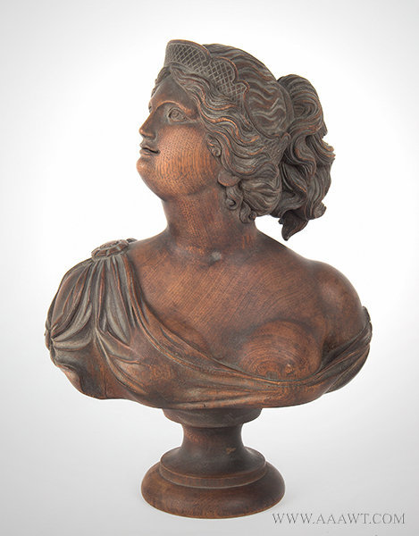 Antique Carved Wood Bust of Beautiful Young Lady, Late 19th Century, entire view