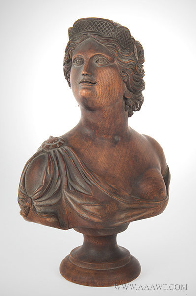 Antique Carved Wood Bust of Beautiful Young Lady, Late 19th Century, angle view
