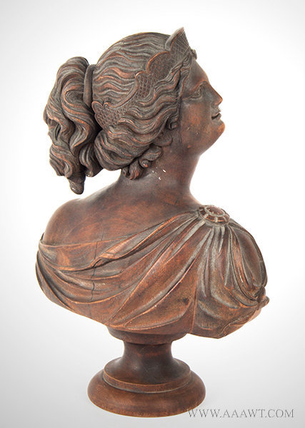 Antique Carved Wood Bust of Beautiful Young Lady, Late 19th Century, rear angle view