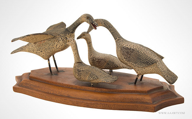 Early 20th Century Decorative Carved Family of Ducks in Original Paint, angle view 2