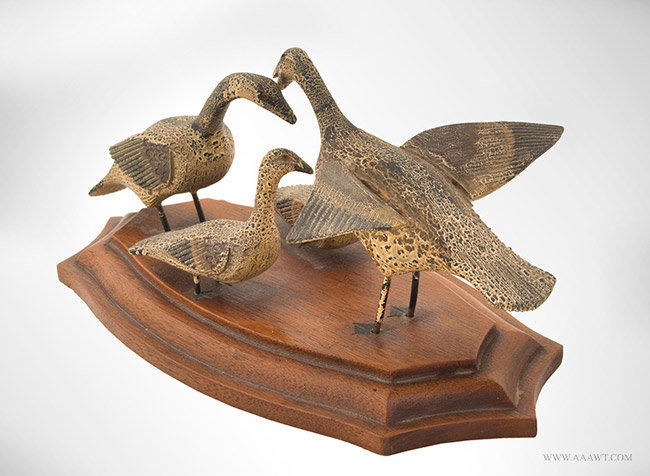Early 20th Century Decorative Carved Family of Ducks in Original Paint, rear angle view