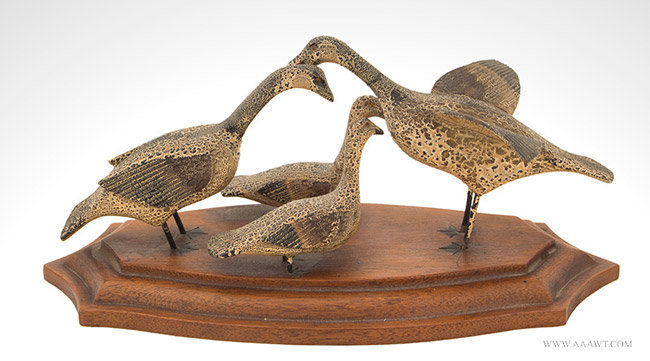 Early 20th Century Decorative Carved Family of Ducks in Original Paint, entire view