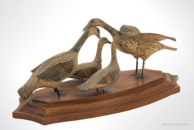 Early 20th Century Decorative Carved Family of Ducks in Original Paint, angle view 1