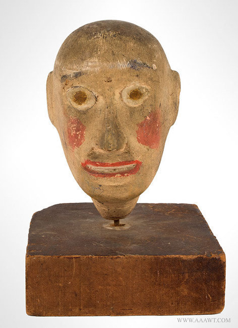 Antique Folk Art Carving of a Head, Painted, entire view