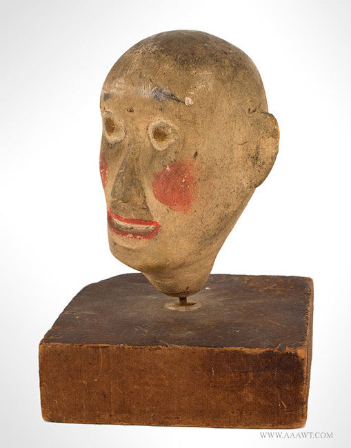 Antique Folk Art Carving of a Head, Painted, angle view 2