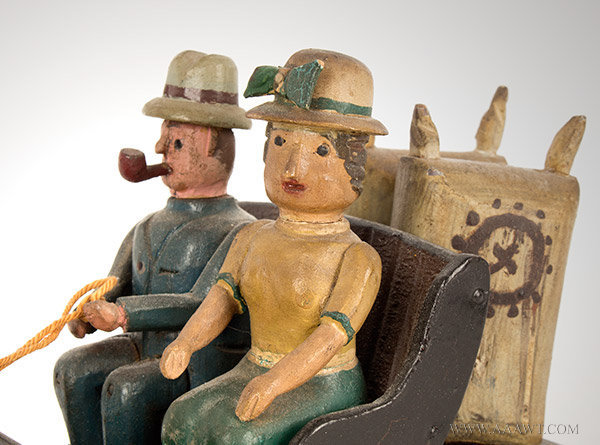Antique Carved Folk Carving, Horse Drawn Wagon and Riders, Circa 1920, New York State, riders detail