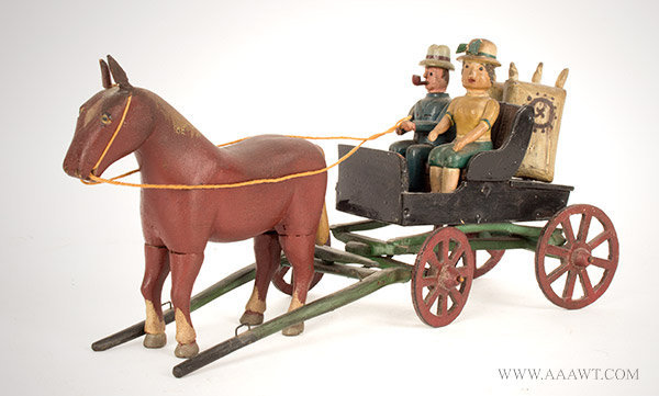 Antique Carved Folk Carving, Horse Drawn Wagon and Riders, Circa 1920, New York State, angle view 1