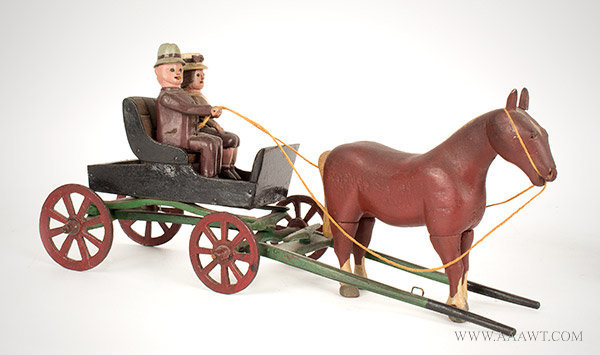 Antique Carving, Horse Drawn Wagon with Riders, New York State, Circa 1920, angle view 1