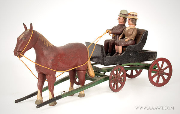 Antique Carving, Horse Drawn Wagon with Riders, New York State, Circa 1920, angle view 2