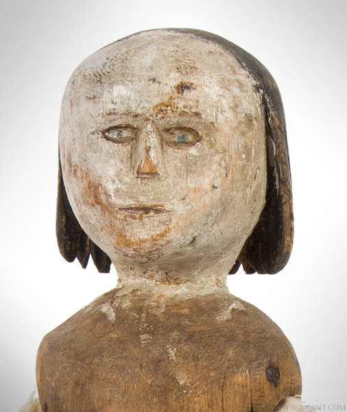 Antique Folk Art Carved Doll, Carved in the round, 19th Century, head close up