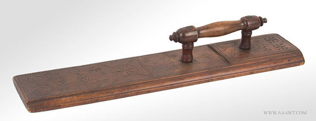 Antique Molded and Carved Mangle Board, Dated 1751, angle view 2