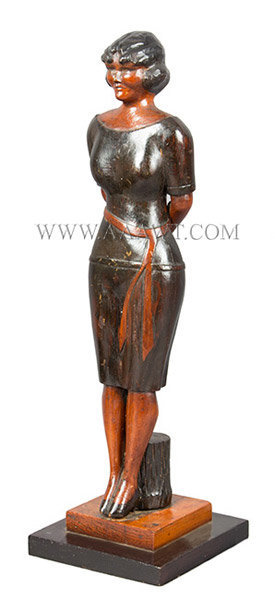 Antique Carved Woman, Full Length, American, Circa 1940, left angle view