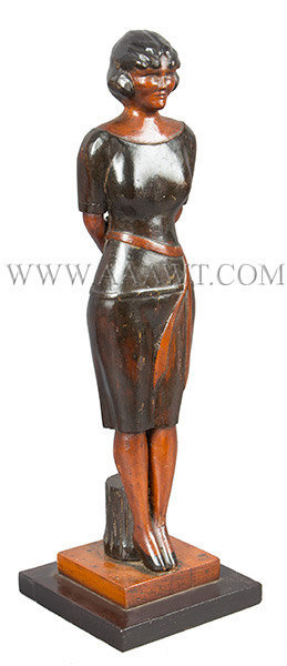 Antique Carved Woman, Full Length, American, Circa 1940, right angle view